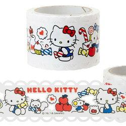 HELLO KITTY 蕾絲風 滾軸 膠帶 三麗鷗 凱蒂貓 膠帶 貼紙 裝飾 KITTY KT 日貨 正版授權 L00010461