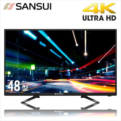 【SANSUI 山水】48型 4K UHD多媒體液晶顯示器(含視訊盒) SLED-4816 三年保固