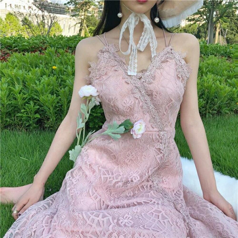 細肩帶洋裝  吊帶洋裝女韓版甜美新款超仙氣質V領露背蕾絲打底溫柔仙女裙 三角衣櫃