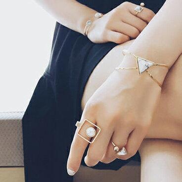 PS Mall 日韓時尚歐美風個性款大理石紋理金屬風格指環戒指手鐲手環手鍊【G2196】