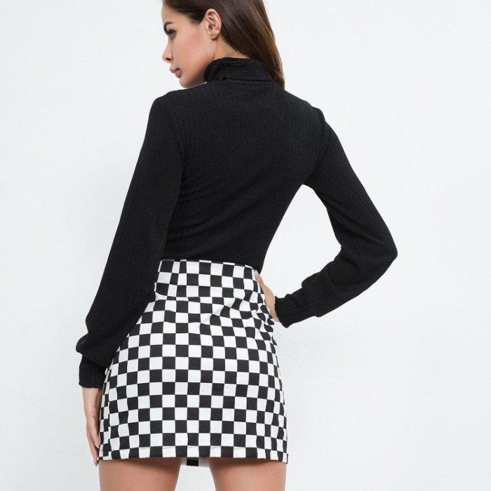 歐美新款女裝 性感時尚街拍格子拉鍊修身包臀窄裙短裙迷你裙 2色 SD4788