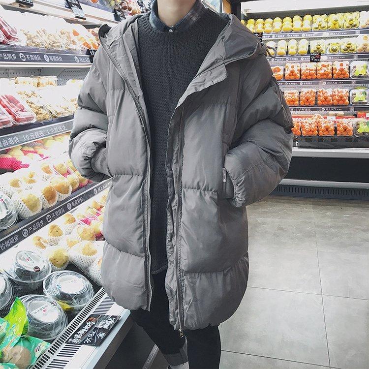 FINDSENSE G6 韓國時尚 冬季男士連帽中長款保暖棉衣麵包服防寒外套