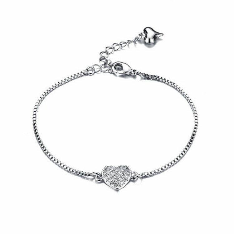 【5折超值價】情人節禮物最新款時尚精美愛心鑲鑽造型鍍白金女款手鍊