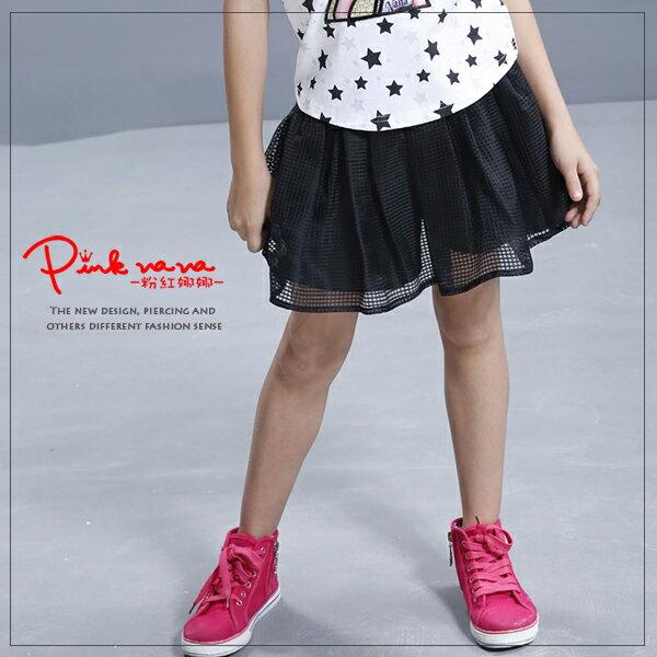 Pink Nana:PINKNANA童裝-網織格紋造型褲裙33117