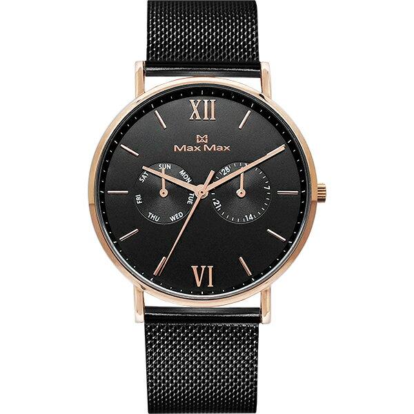 MaxMaxMAS7018-1經典雙眼時尚腕錶-黑39mm