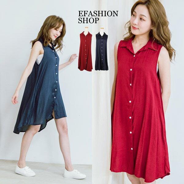 背心洋裝-排扣側口袋襯領無袖棉麻洋裝-eFashion預【H15761170】