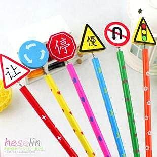 =優生活=日韓文具 可愛卡通 交通號誌 手工木質鉛筆