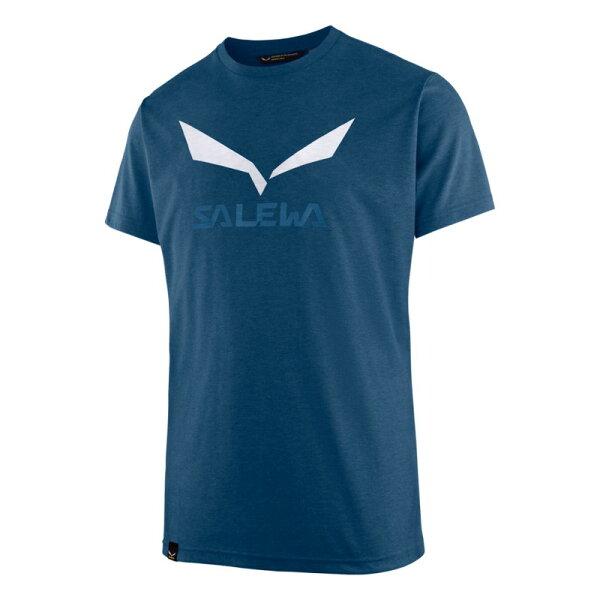 【Salewa德國】SOLIDLOGO快乾T恤LOGO短袖T恤運動T恤濃藍麻花男款27018-8968