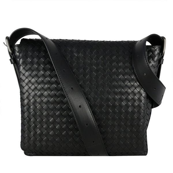 【BOTTEGA VENETA】 小羊皮翻蓋 編織斜背包 (黑色) 163971 VQ131 1000