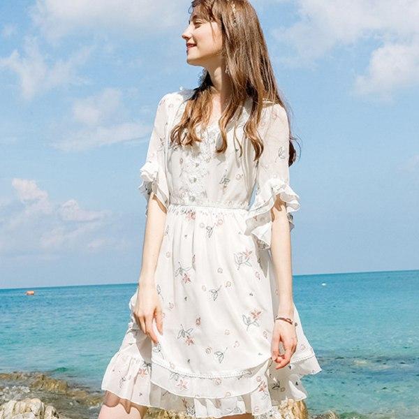 灰姑娘[69236-KF]中尺碼*浪漫唯美花邊荷葉袖度假連衣裙洋裝~