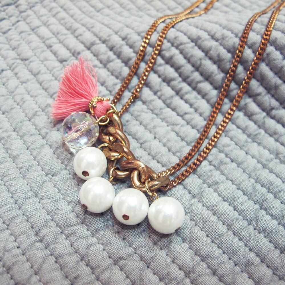 白玉珍珠與流蘇項鍊