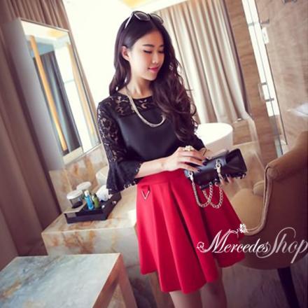 《早春新品5折》早春韓國連線新品甜美公主袖蕾絲拼接百搭蕾絲上衣-梅西蒂絲(現貨+預購)