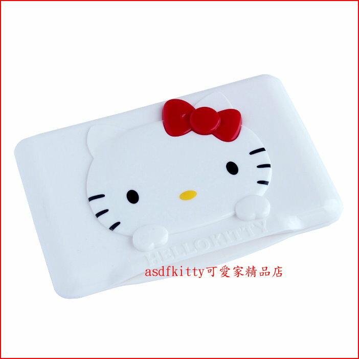 asdfkitty可愛家☆KITTY紅蝴蝶結濕紙巾蓋-可重複黏貼-隨身包.溼拖巾.廚房油污濕巾...也可使用-日本正版