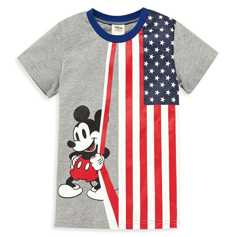 Disney 米奇系列國旗圓領上衣-麻花灰 1