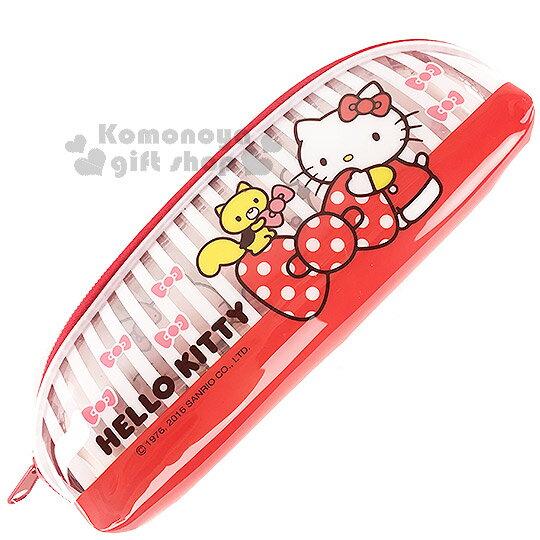〔小禮堂〕Hello Kitty 透明拉鍊筆袋《白條紋.紅底.側站.蝴蝶結》防水材質