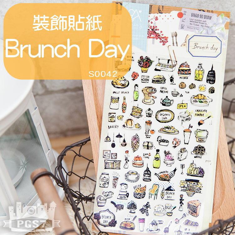 PGS7 富士 拍立得 底片 裝飾貼紙 - Brunch Day 手繪 塗鴉 風格 下午茶 貼紙【SHT5032】