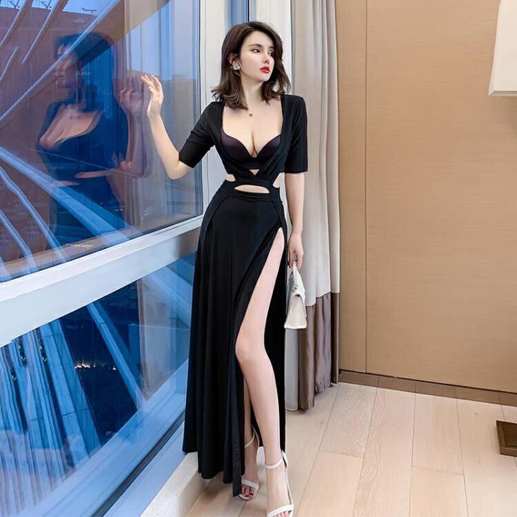 透視禮服 洋裝 工裝性感連身裙禮服裙低胸長裙黑色上班衣服會所貼身演出服連身裙-麥田印象
