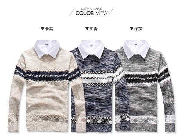 ☆BOY-2☆【PPK86034】混色圖騰圓領針織長袖上衣 1