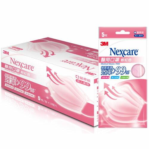 3M Nexcare 醫用口罩 成人適用 粉紅色 50枚