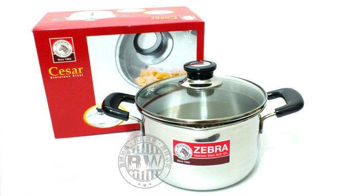 ZEBRA斑馬牌瀝水玻璃蓋雙耳鍋18cm/20cm/22cm/24cm 304不銹鋼雙耳湯鍋煮麵川燙