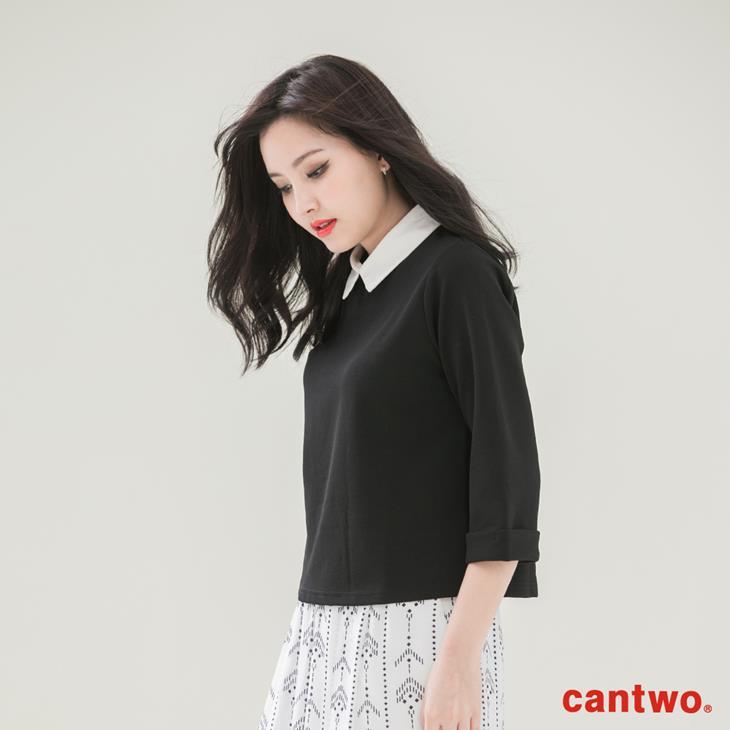 cantwo襯衫領假兩件五分袖上衣(共二色) 2