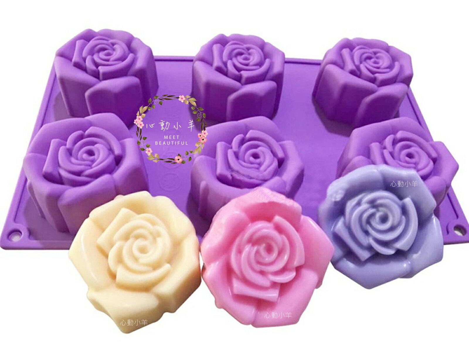 心動小羊^^六孔六連6孔6連新款仿真玫瑰矽膠模巧克力模具 蛋糕模 手工皂 矽膠模具 製冰盒 果凍盒 皂模