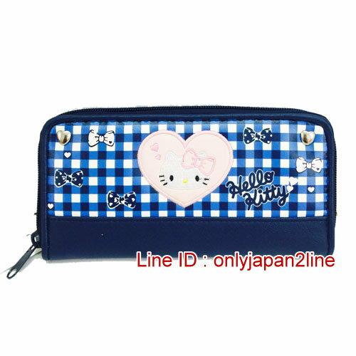 【真愛日本】16121600106拉鍊長夾錢包-藍白格粉心  三麗鷗 Hello Kitty 凱蒂貓 皮夾 錢包 正品