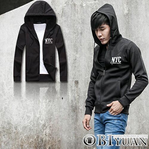 太空棉外套~Y0255~OBI YUAN韓國同步款NYC文字印花厚磅連帽外套