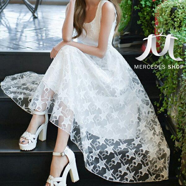 《全店8折+399免運》 浪漫唯美星狀無袖網紗小禮服長洋裝 (S-XL) - 梅西蒂絲(現貨+預購)