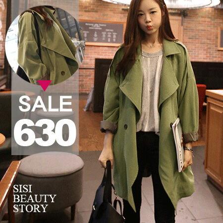 SISI【C4032】學院風翻領長款雙排扣風衣外套