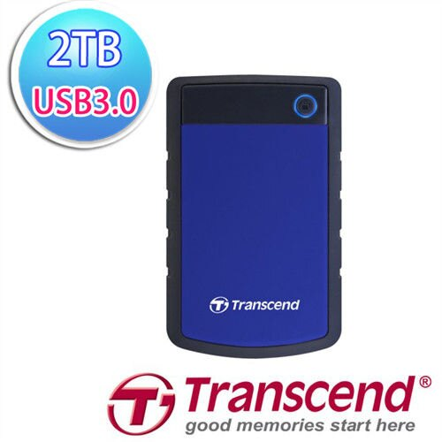 Transcend 創見 StoreJet 25H3B 2TB 2.5吋 USB3.0高速 深藍色防震橡膠外殼行動硬碟 - 限時優惠好康折扣