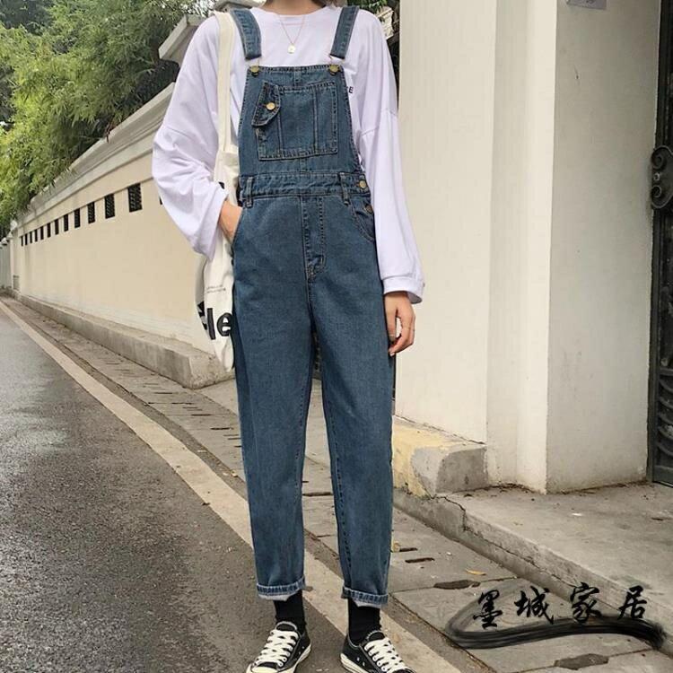 牛仔吊帶褲 2019秋新款正韓學生顯瘦修身百搭小個子網紅減齡九分牛仔背帶褲女