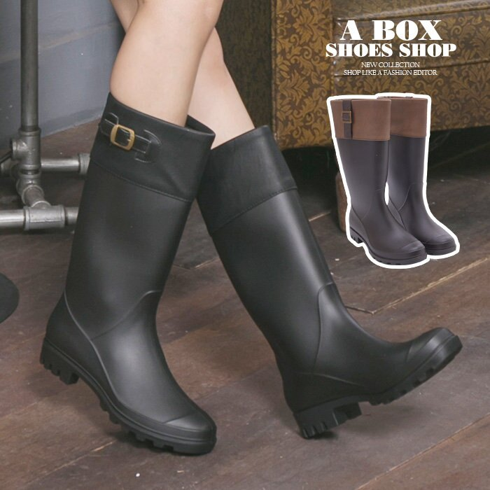 格子舖*【AND3661】愛上下雨天 防水PVC 英倫風消光霧面雙色拼接金釦修身 31CM長筒雨靴 雨鞋 2色 1
