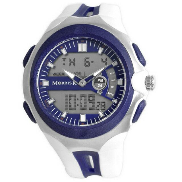 【Morris K】羅志祥代言 雙色雙顯錶 47mm大錶面 多功能 MK14089-BL