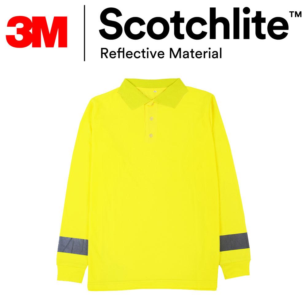 【買就送來店禮】黃色polo反光橫條長袖T恤-大尺碼3M Scotchlite《滿額899免運》