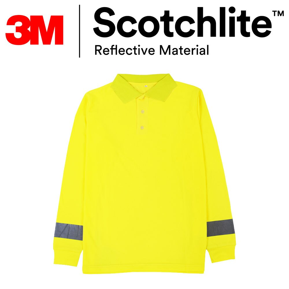 【safetylite安心生活館】《滿額899免運》黃色polo反光橫條長袖T恤-大尺碼3M Scotchlite™