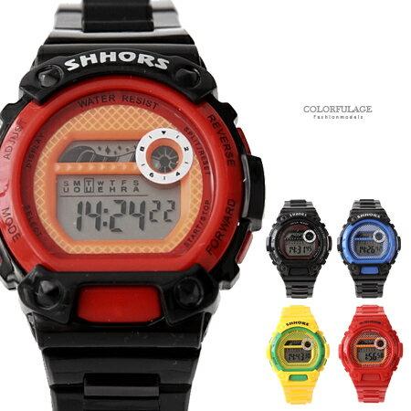 手錶 繽紛色彩多 電子錶 中性 防水30米 可調式矽膠錶帶 柒彩年代~NE1846~單支