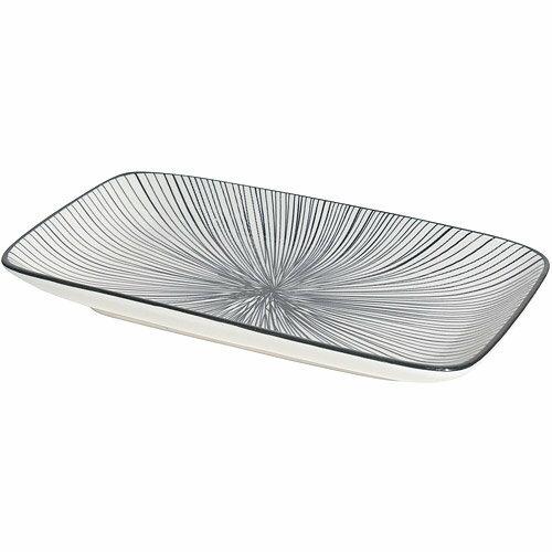 《NOW》長方淺餐盤(射線黑22cm)