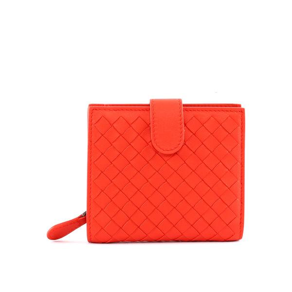 【BOTTEGA VENETA】小羊皮編織 零錢袋 短夾(罌粟紅) 121059 V001N 6517