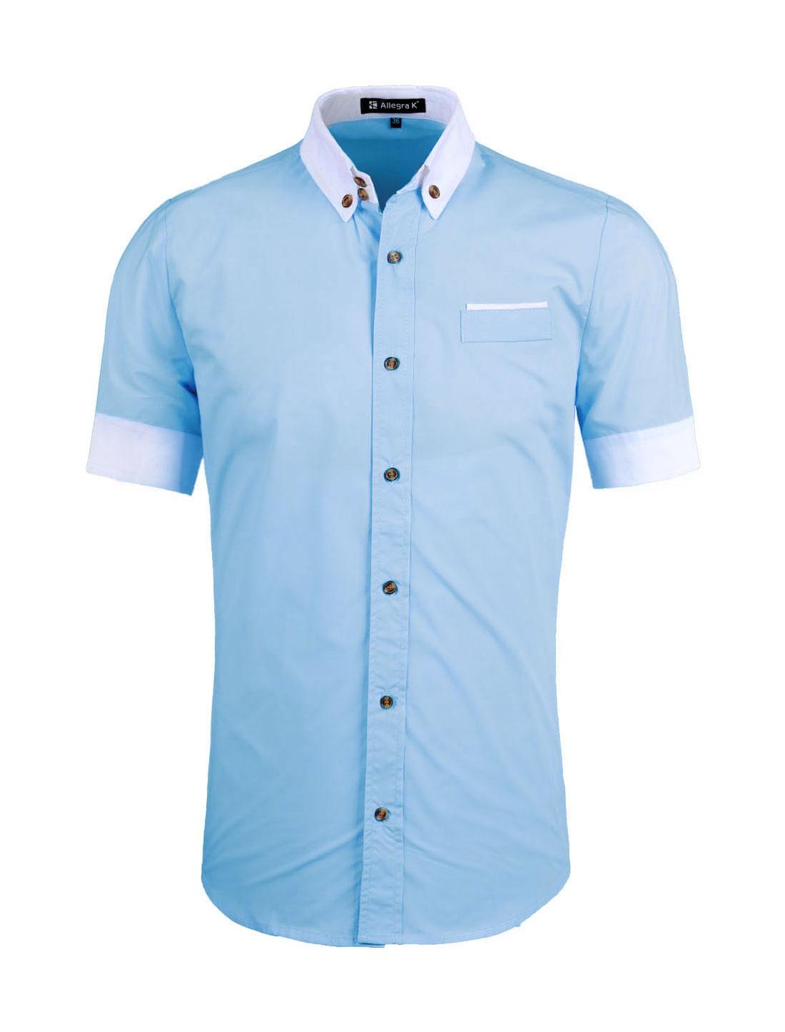 Unique Bargains Unique Bargains Mens Short Sleeves Contrast Color
