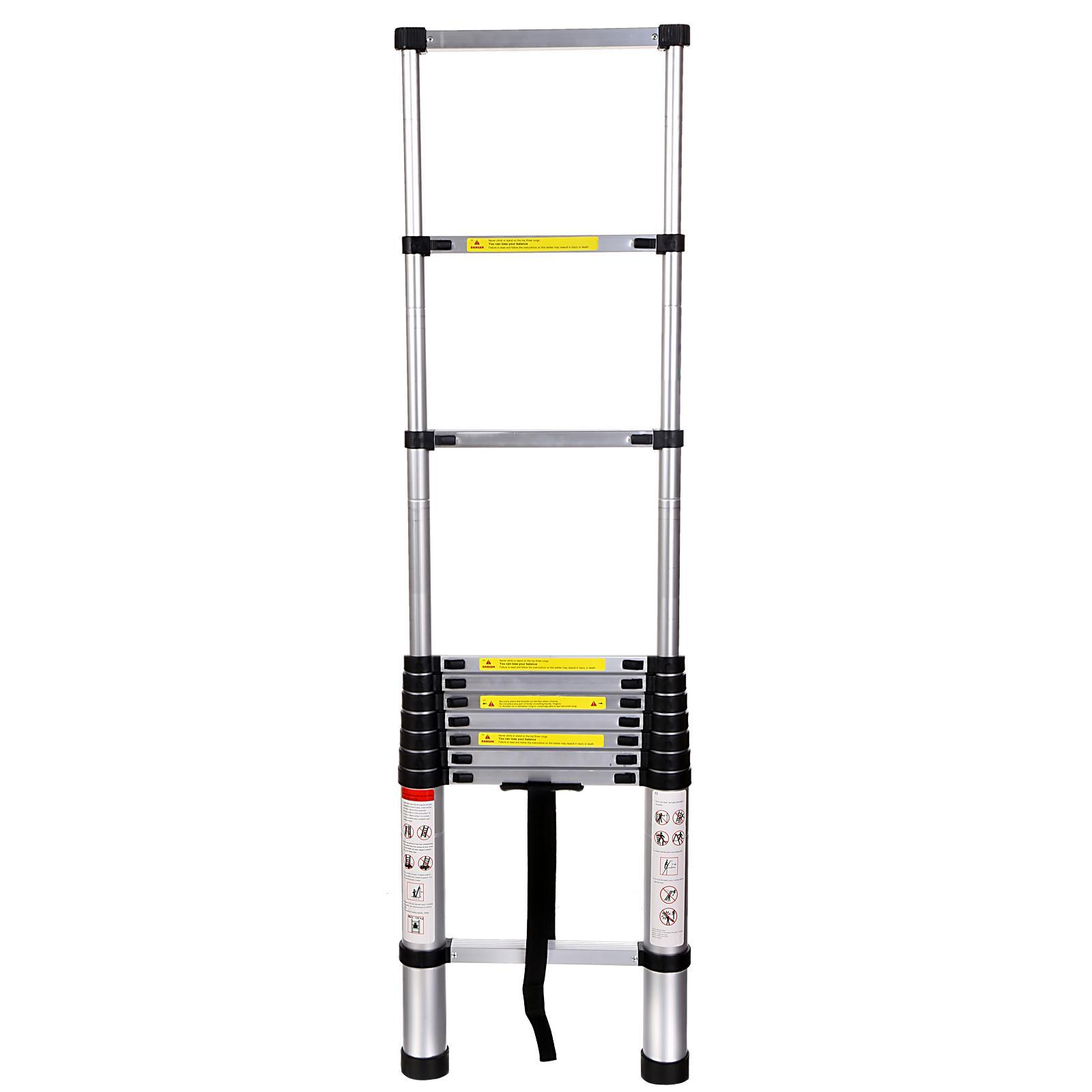 3.2M Durable Aluminum Alloy Telescoping Ladder Portable Foldable Extendable Ladder 1