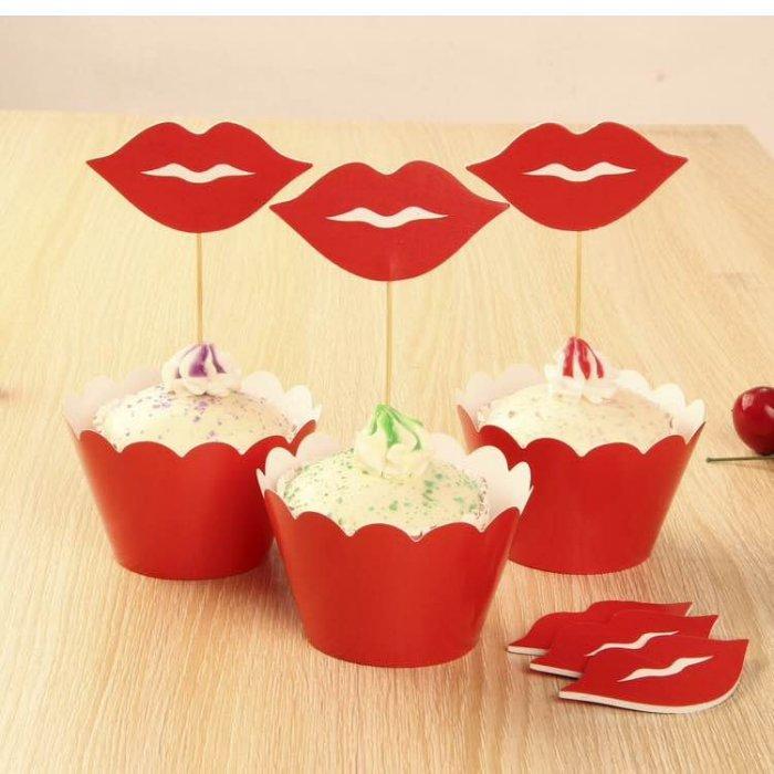 =優生活=烘焙包裝紙杯蛋糕 蛋糕裝飾 插牌圍邊+插牌裝飾 派對用品 兒童生日 彌月蛋糕 收綖蛋糕【紅唇】