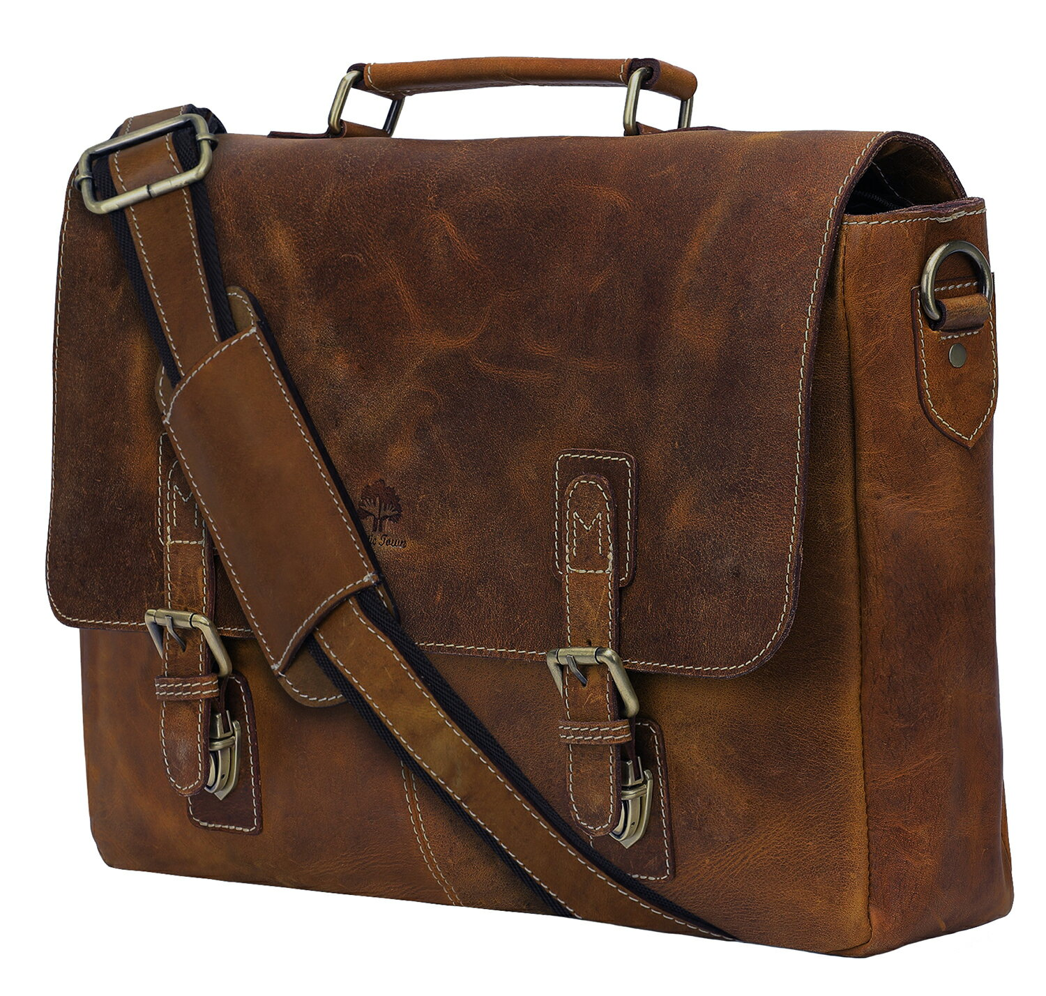 bf99ddbc59 16 inch Genuine Leather Briefcase Bag - Crossbody Laptop Satchel by Rustic  Town 0