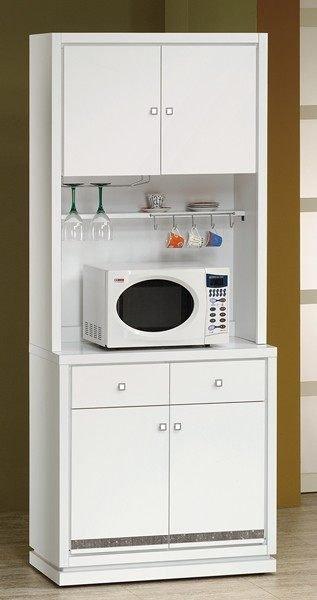 ~石川家居~EF~362~6 詠佳白色2.7尺水鑽木面碗碟櫃^(下座^) ^(不含上座及
