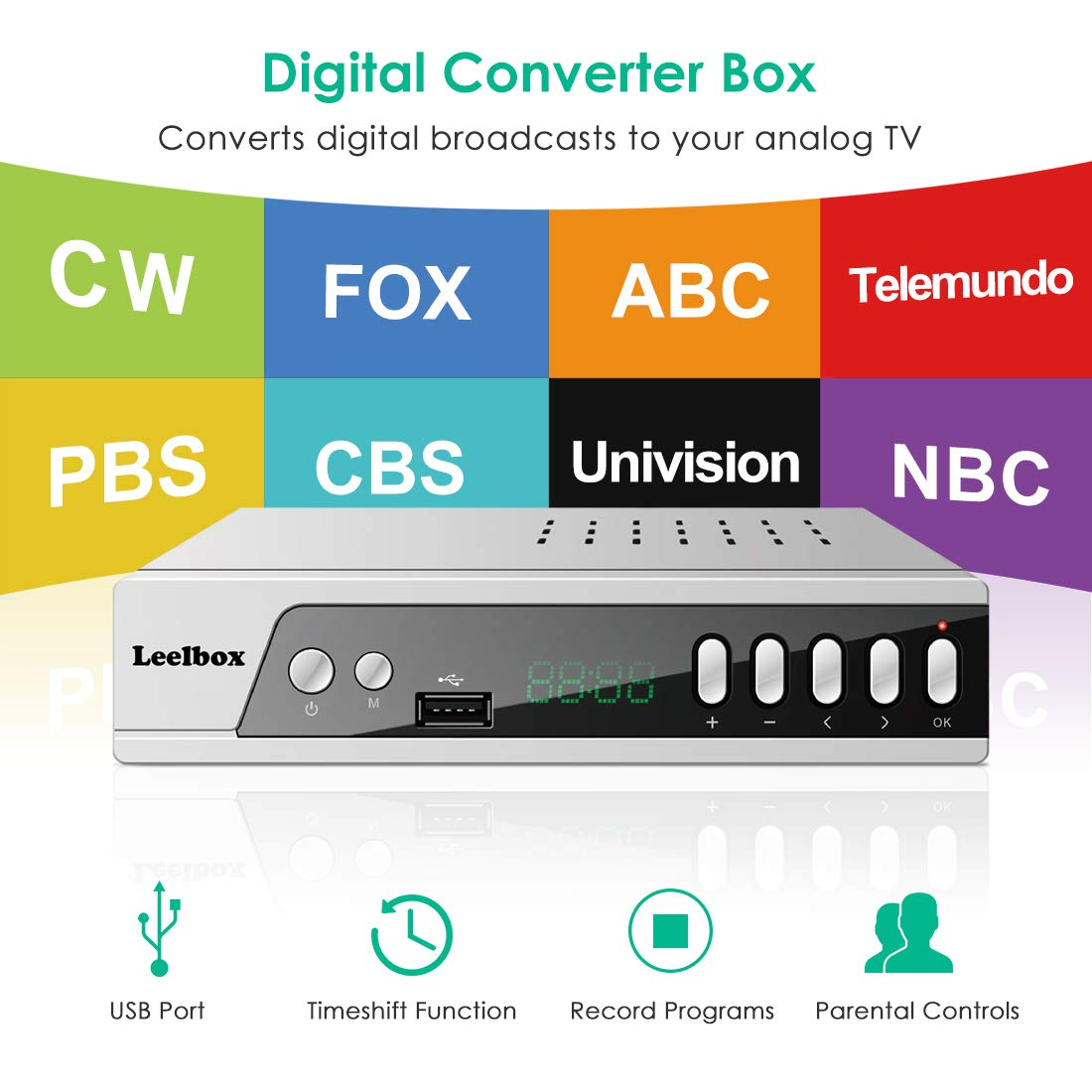 Digital Converter Box,Leelbox S3 ATSC Converter Box for Analog TV,HD 1080P  HDTV Set Top Box for Recording PVR,Pause Live TV,USB Multimedia Playback