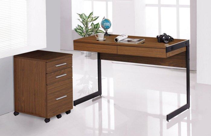 【尚品傢俱】JF-881-1 歐菲4尺胡桃色二抽書桌