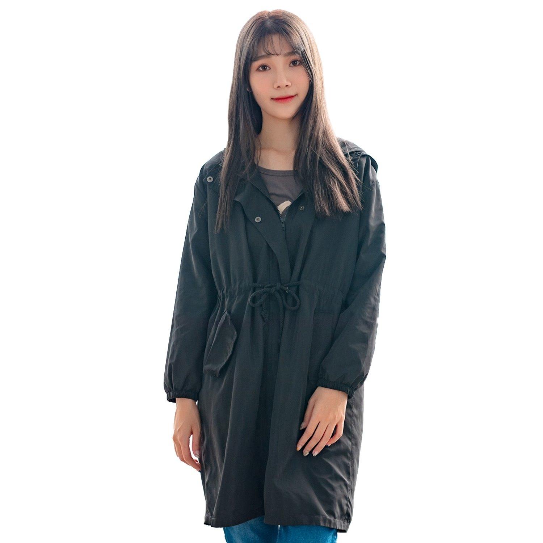 風衣外套--休閒高雅抽繩拉鍊口袋寬鬆修身素色連帽防風外套(黑XL-3L)-J246眼圈熊中大尺碼 0
