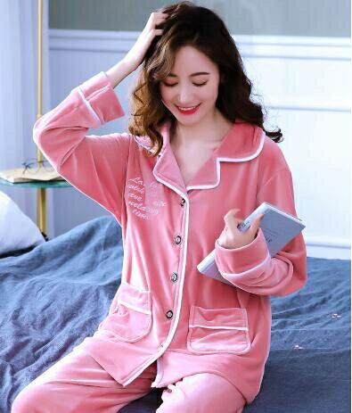 睡衣套裝 睡衣女長袖薄款春秋套裝月子服家居服珊瑚絨秋冬加厚法蘭絨