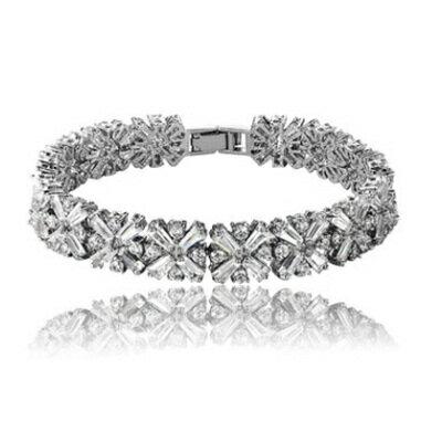 ~純銀手鍊 鍍白金鑲鑽手環~時髦別緻大方米字形情人節生日 女飾品73cv14~ ~~米蘭