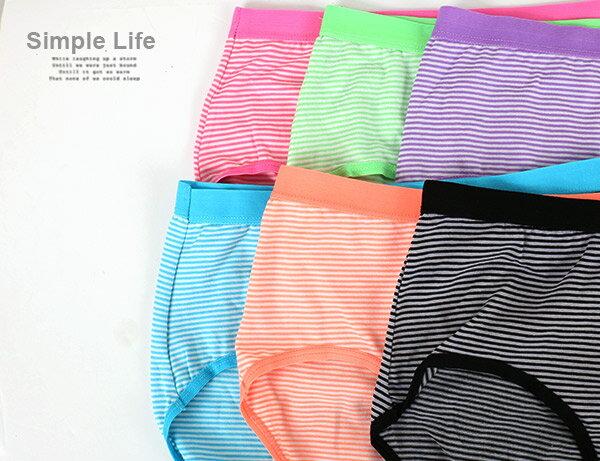 3件199免運【夢蒂兒】條紋中腰三角褲3件組(隨機色) 2